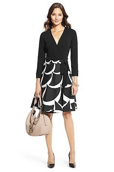 DVF Amelia Silk Combo Flared Wrap Dress in Acorn Moon White/ Black by DVF
