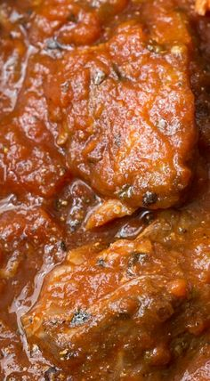 Slow Roasted Italian Pork - make-ahead, super tender and succulent pork in a thick, rich Italian tomato sauce. Who doesn't love Italian? Pork Chop Recipes, Meat Recipes, Slow Cooker Recipes, Crockpot Recipes, Cooking Recipes, Game Recipes, Slow Cooking, Pressure Cooking, Recipies