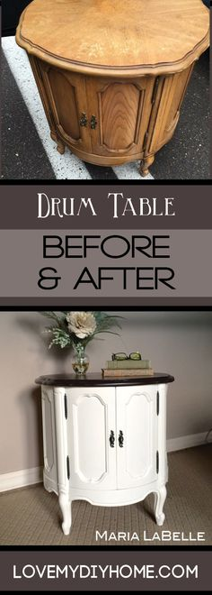 French Provincial Drum Table Revival! Java Gel, homemade chalk paint and lots of lovin' turned this drum table from drab to fab! Come see how Maria worked wonders with this side of the road rescue. {Love My DIY Home} #paintedfurniture #chalkpaint #javagel #generalfinishes