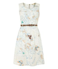 Look what I found on #zulily! Iska London Cream Map A-Line Dress by Iska London #zulilyfinds