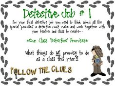 This is a variety of activities for back to school with a detective theme