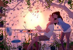 40 Romantic Digital Illustrations by Pascal Campion Cute Couple Drawings, Cute Couple Cartoon, Cute Couple Art, Cute Couples, Paar Illustration, Couple Illustration, Digital Illustration, Pascal Campion, Love Images
