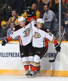 Rickard Rakell #67 celebrates his goal with Sami Vatanen #45 of the Anaheim Ducks against the Nashville Predators
