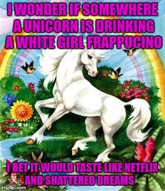 I wonder if somewhere a unicorn is drinking a white girl frappucino...I bet it would taste like Netflix and shattered dreams.