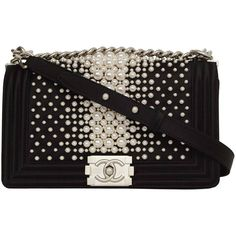 Pre-owned CHANEL '15 Ltd Ed. Black Satin & Pearl  Boy Bag SHW ($6,490) ❤ liked on Polyvore featuring bags, handbags, shoulder bags, handbags and purses, structured shoulder bags, chanel shoulder bag, structured handbag, single strap handbag, flap shoulder bag und pre owned handbags