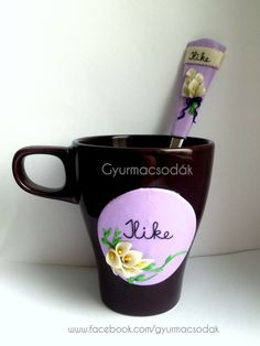 Cala flower Polymer clay mug and spoon, personalised gift  Süthető gyurma bögre és kanál Gyurmacsodák Sales contact and more pictures: https://www.facebook.com/gyurmacsodak/  @csontosadri