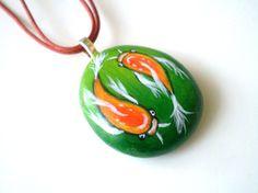 Orange #Koi #Fish  Necklace  Beach painted Stone Jewelry by ShebboDesign, $35.00