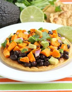 Black Bean and Sweet Potato Tostadas Recipe on twopeasandtheirpod.com Love this quick and healthy meal!