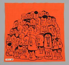 "TH-S & Co. x Barry McGee ICA Printed Selvedge Chambray Bandana, ""Orange Heads"""