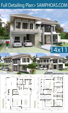 4 Bedrooms Home Design Plan Size : Bedrooms Home Design Plan Size Xm Samphoas Com - Bedrooms Home Design Plan Size Xm This Villa Is Modeling By Sam Architect With Stories Level Its Has Bedroom Xm House Description The House Has Car Parking Small Gard House Layout Plans, Duplex House Plans, Dream House Plans, Modern House Plans, House Layouts, Modern House Design, The Plan, How To Plan, Villa Plan