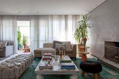 Decoração de: Sala de estar; chaise bege; Casa de Valentina