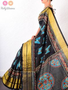 #Black #Katan #Silk #Patola #Handwoven #Saree #HolyWeaves