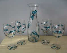 Hand Painted Glitter Turquoise Dragonflies Glass Wine Carafe and Four Glasses