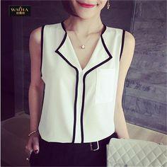2015 estilo verão nova chegada Chiffon blusas europeus e americanos doce Tops Sexy V neck moda feminina camisas de alta qualidade Top em Blusas de Roupas e Acessórios Femininos no AliExpress.com | Alibaba Group