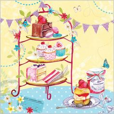 Everyday Ranges » M0997 » Afternoon Tea - Clare Maddicott Publications - Greeting cards, gift wrap & stationery Cupcake Illustration, Tea Illustration, Fondant Cupcake Toppers, Cupcake Art, Rose Cupcake, Cake Background, Pink Cupcakes, Valentine Cupcakes, Vintage Cupcake