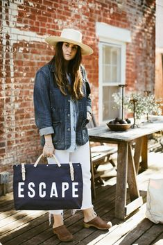 Time to hit the road // The Escape Canvas Utility Bag from Favery will take you there Painted Canvas Bags, Painted Fox Home, Canvas Weekender Bag, Blue Canvas, Fabric Bags, New Bag, Leather Handle, Boutique Clothing, Navy