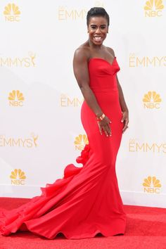 Pin for Later: The OITNB Cast Breaks Out of Its Prison Garb Uzo Aduba Uzo Aduba looks even more stunning with every red carpet appearance, and she made no exception in this elegant strapless gown.