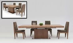 Modrest Zenith Modern Walnut Extendable Dining Table VGGU841XT-WALProduct :14554Features:Modern Dining TableIncludes an Extendable TopElegant and Sturdy DesignStands on a Stainless Steel Base For Sturdiness and Aesthetic EffectFinished in Red OakDimensions:Dining Table : W94/71