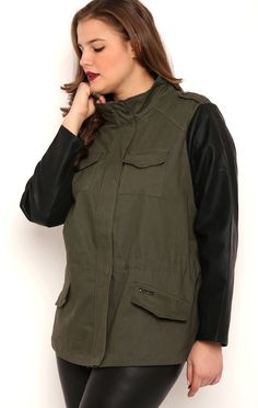 Deb Shops Plus Size Anorak Jacket with Faux Leather Sleeves and Stud Pockets $28.00