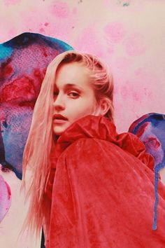 """The (Gorgeous) Antidote To Photo Filter Overload #refinery29  http://www.refinery29.com/push-pose#slide-1  Subject: Jemima Kirke""""Filter"""" applied: Jemima's pink hair inspired Fletcher to reimagine her as a rock queen and collage her photo against soft spots of paint on silk velvet. Says Fletcher, """"We imagined her as an album cover, as her instincts are so incredibly cool."""""""