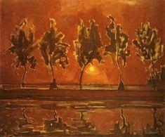 Piet Mondrian - Bäume durch den Gein zu Moonrise