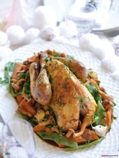 Christmas guinea fowl with Oriental flavors: Main course [Christmas menu] Main Course Menu, Main Menu, Starters Menu, French Appetizers, Healthy Snacks, Healthy Recipes, Entrees, Snack Recipes, Good Food