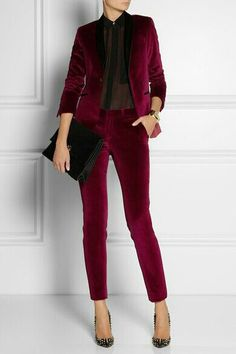 Burgundy velvet jacket and pants. Velvet tends to look old and vintage. This is sharp and clean.
