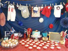 Masonu0027s Baseball Baby Shower #baseball #babyshower #redwhiteblue  #clothesline
