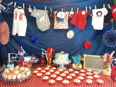 Mason's Baseball Baby Shower #baseball #babyshower #redwhiteblue #clothesline