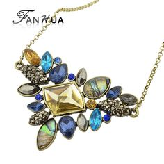Find best #fashion colorful #rhinestone #necklaces pendants boho flower maxi statement necklace antique #gold plated  vintage pendant necklace