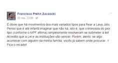 O filho do ministro Teori Zavascki, relator da Lava Jato no Supremo Tribunal Federal, usou as redes sociais para comentar as articulações de políticos para frear as investigações. Francisco Zavascki postou na sua página no Facebook a seguinte mensagem: