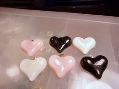 Paris Inspired Flatback Heart Cabochon Charms-Pink, Black, White Heart Resin Charms-Children's Cabochon Charms-Heart Resin Charms