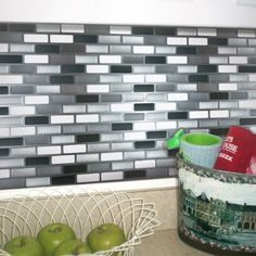 Peel and Impress - Easy DIY Peel and Stick Adhesive Backsplash Tiles, 24038 Glass Urban, Oblong, x Tiles) Vinyl Wall Tiles, Adhesive Backsplash, Peel And Stick Vinyl, Subway Tiles, Decorative Tile, Adhesive Vinyl, Easy Diy, House Ideas, Sticker