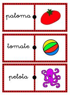 He elaborado unos dominós para que los niños asocien palabra con imagen. Los he dividido en 5, siguiendo las unidades de lengua de primero... Playing Cards, Album, Montessori, Spanish, Google, Word Work, Learning Letters, Preschool Alphabet Activities, Infant Learning Activities