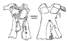 The Moy Gown dress journal. This garment, presumed to be a woman's, was discovered in a bog in Moy, County Clare, Ireland in 1931. The age of the gown is not known, but it is presumed to be from the mid 14th century to late 15th century based on its construction.