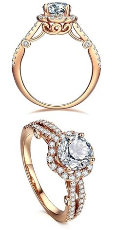 AllenCOCO 18K Rose Gold Plated Round-Cut Solitaire Simulation Diamond CZ Halo Promise & Engagement Rings (5)