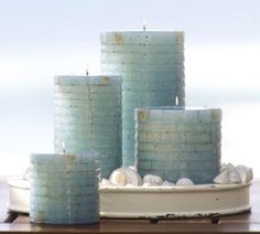 Turquoise candles from Pottery Barn