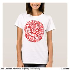 Red Chinese New Year Tiger T-Shirt Chinese New Year, Chinese Tiger, Chinese Holidays, Tiger T Shirt, Shirt Print Design, Girls Wardrobe, Comfy Casual, Wardrobe Staples, Colorful Shirts