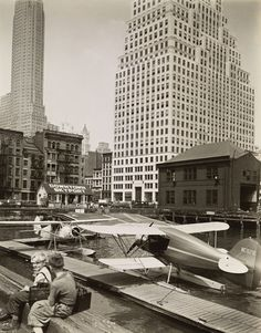 Downtown Skyport, Pier 11, East River, Manhattan by Berenice Abbott