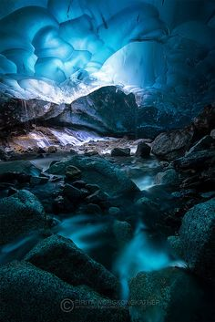 Deep Blue Ice - An ice cave underneath Mendenhall Glacier Juneau, AK Great Places To Travel, Oh The Places You'll Go, Places To Visit, Beautiful World, Beautiful Places, Amazing Places, All Nature, To Infinity And Beyond, Ciel