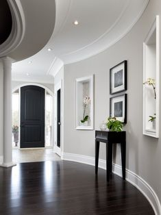 I love this color combo: gray walls, dark wood floors, light tile