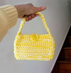 Bright Yellow Crochet Purse Girly Girl Fun by NutmegCottage, $12.00