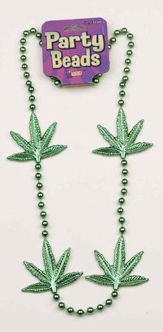 Go hippie this Mardy Gras with the Mardi Gras Green Leaf Beaded Necklace! This Mardi Gras 48inch Green Leaf Beaded Necklace features green beads and four green marijuana leaves. These party beads can go with a themed party, Halloween costume, and can be used as party favors and prizes! We recommend this necklace for adult use only.