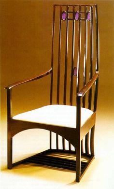 Art Nouveau - Charles Rennie Mackintosh - Chaise à dossier haut