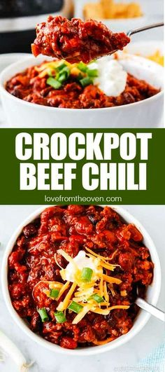 Easy Crockpot Beef Chili • Love From The Oven Slow Cooker Casserole, Slow Cooker Chicken, Casserole Recipes, Fun Easy Recipes, Quick Easy Meals, Amazing Recipes, Easy Family Dinners, Easy Dinners, Crockpot Dishes
