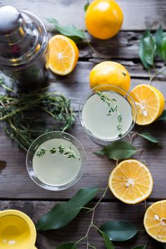 """A refreshing recipe for Meyer Lemon Gimlet with Thyme Simple Syrup, a delicious and simple gin cocktail that tastes like """"grown-up"""" lemonade!"""