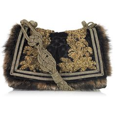 Details Roberto Cavalli raccoon-trimmed shoulder bag. Gold braided strap. Black and gold brocade, embroidered leaf detail, gold bead embellishment at back. Two…