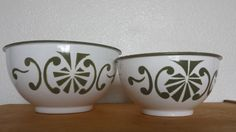 Enamel Bowls Made in Poland Green and White Vintage Set of 2 by ThatOneThing on Etsy