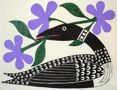 Inuit Gallery of Vancouver - Specializing in Inuit art, Northwest Coast art, Native Indian art, Canadian aboriginal art, Jewelry, Sculptures, Prints, Drawings, Masks - Loon With Purple Flowers by Kenojuak Ashevak