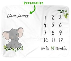 Baby Monthly Milestone Blanket, Elephant Animal Boy Girl Neutral Infant Month Blankets for baby pictures, Best Baby Shower Gift New Moms Elephant Baby Showers, Baby Elephant, Month Blanket Baby, Baby Monthly Milestones, Stroller Cover, Monthly Photos, Photo Album Scrapbooking, Elephant Design, Baby Grows